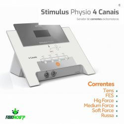Stimulus Physio 4 Canais Correntes (TENS, FES, High Force, Russa, Medium Force e Soft Force)