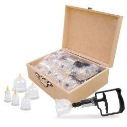 Kit Ventosa Luxo com 20 Peças - exclusiva caixa de madeira para transporte.